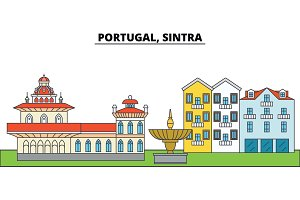 Portugal, Sintra. City skyline, architecture, buildings, streets, silhouette, landscape, panorama, landmarks. Editable strokes. Flat design line vector illustration concept. Isolated icons