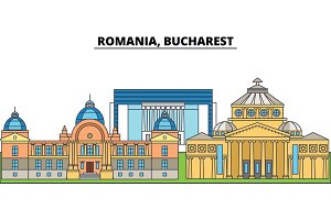 Romania, Bucharest. City skyline, architecture, buildings, streets, silhouette, landscape, panorama, landmarks. Editable strokes. Flat design line vector illustration concept. Isolated icons