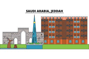 Saudi Arabia, Jeddah. City skyline, architecture, buildings, streets, silhouette, landscape, panorama, landmarks. Editable strokes. Flat design line vector illustration concept. Isolated icons