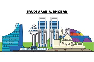 Saudi Arabia, Khobar. City skyline, architecture, buildings, streets, silhouette, landscape, panorama, landmarks. Editable strokes. Flat design line vector illustration concept. Isolated icons