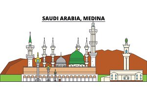 Saudi Arabia, Medina. City skyline, architecture, buildings, streets, silhouette, landscape, panorama, landmarks. Editable strokes. Flat design line vector illustration concept. Isolated icons