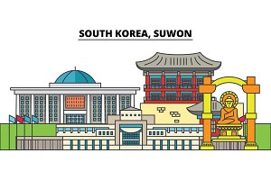 South Korea, Suwon. City skyline, architecture, buildings, streets, silhouette, landscape, panorama, landmarks. Editable strokes. Flat design line vector illustration concept. Isolated icons