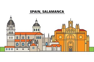 Spain, Salamanca. City skyline, architecture, buildings, streets, silhouette, landscape, panorama, landmarks. Editable strokes. Flat design line vector illustration concept. Isolated icons
