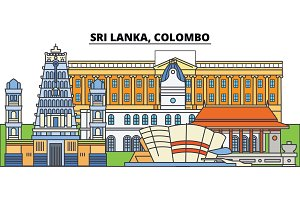 Sri Lanka, Colombo. City skyline, architecture, buildings, streets, silhouette, landscape, panorama, landmarks. Editable strokes. Flat design line vector illustration concept. Isolated icons