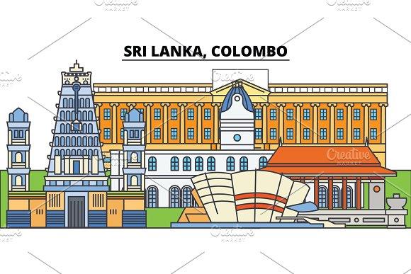 Sri Lanka Colombo City Skyline Architecture Buildings Streets Silhouette Landscape Panorama Landmarks Editable Strokes Flat Design Line Vector Illustration Concept Isolated Icons