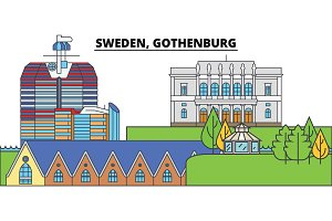 Sweden, Gothenburg. City skyline, architecture, buildings, streets, silhouette, landscape, panorama, landmarks. Editable strokes. Flat design line vector illustration concept. Isolated icons