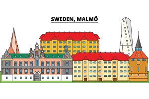 Sweden, Malmo. City skyline, architecture, buildings, streets, silhouette, landscape, panorama, landmarks. Editable strokes. Flat design line vector illustration concept. Isolated icons