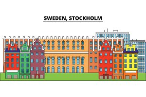 Sweden, Stockholm. City skyline, architecture, buildings, streets, silhouette, landscape, panorama, landmarks. Editable strokes. Flat design line vector illustration concept. Isolated icons