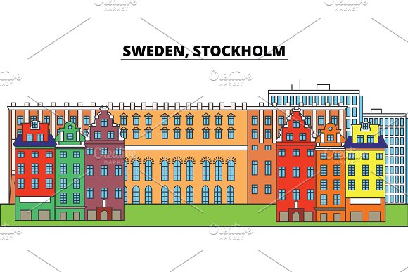 Sweden Stockholm City Skyline Architecture Buildings Streets Silhouette Landscape Panorama Landmarks Editable Strokes Flat Design Line Vector Illustration Concept Isolated Icons