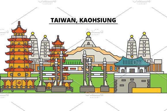 Taiwan Kaohsiung City Skyline Architecture Buildings Streets Silhouette Landscape Panorama Landmarks Editable Strokes Flat Design Line Vector Illustration Concept Isolated Icons