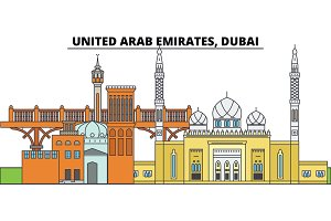 United Arab Emirates, Dubai. City skyline, architecture, buildings, streets, silhouette, landscape, panorama, landmarks. Editable strokes. Flat design line vector illustration concept. Isolated icons