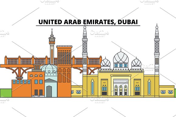 United Arab Emirates Dubai City Skyline Architecture Buildings Streets Silhouette Landscape Panorama Landmarks Editable Strokes Flat Design Line Vector Illustration Concept Isolated Icons