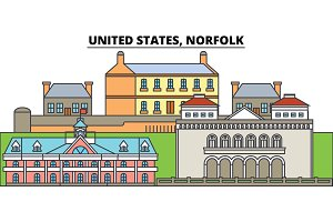 United States, Norfolk. City skyline, architecture, buildings, streets, silhouette, landscape, panorama, landmarks. Editable strokes. Flat design line vector illustration concept. Isolated icons
