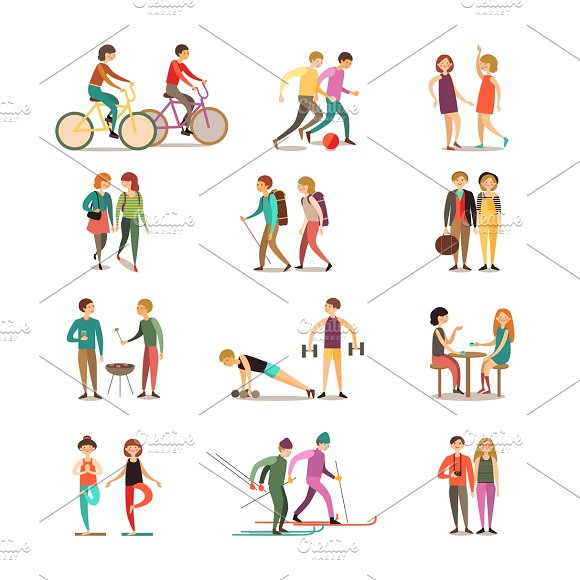 Friends And Hobbies Icons Set