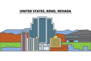 United States, Reno, Nevada. City skyline, architecture, buildings, streets, silhouette, landscape, panorama, landmarks. Editable strokes. Flat design line vector illustration concept. Isolated icons
