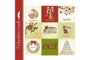 9 Christmas cards, vintage style