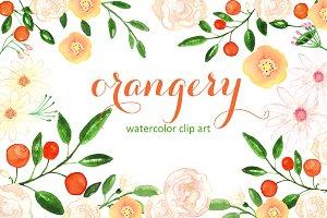 Orangery. Watercolor clip art.