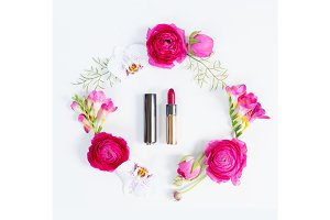 Flowers flat lay composition