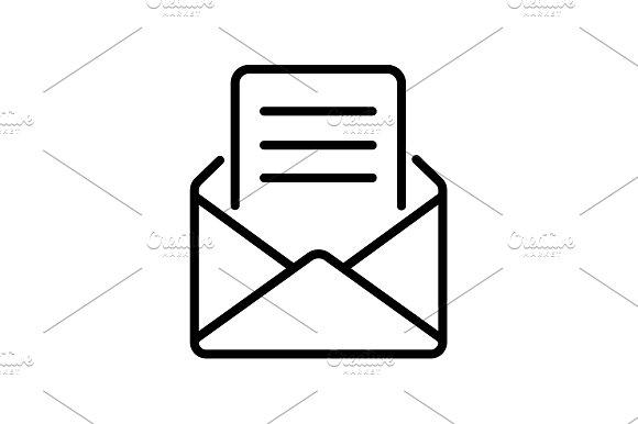 Web Line Icon Letter Read Message