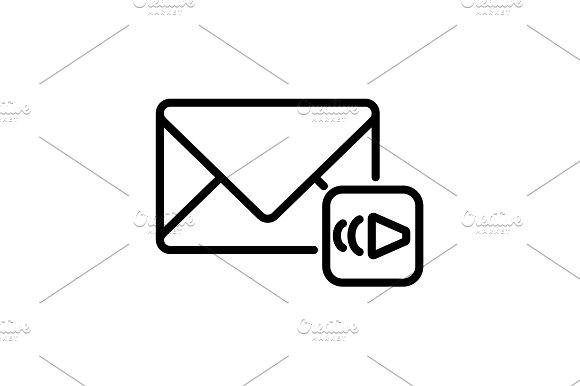 Web Line Icon Voice Messages Black