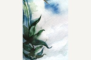 Watercolor plant abstract background