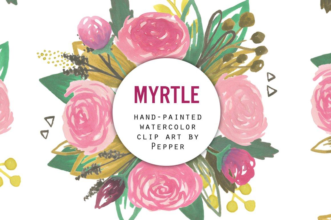 Pink Rose Garden Watercolor Flowers Illustrations Creative Market