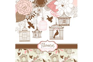 14 Flower Designs, birdcages, birds