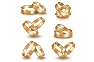 Realistic Golden Wedding Rings Set.