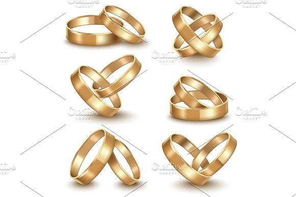 Realistic Golden Wedding Rings Set