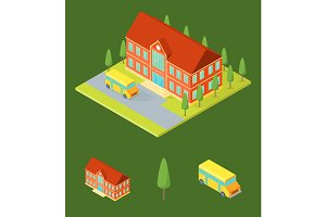 School Building Isometric View