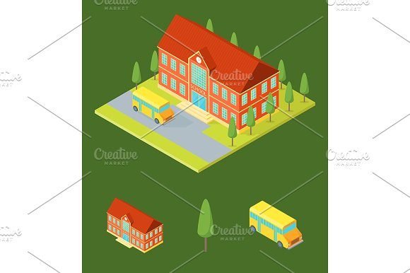 School Building Isometric View