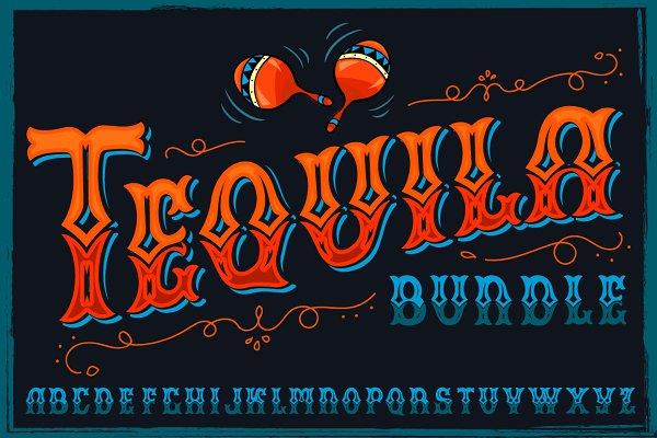 Serif Fonts: VioSilent - Tequila bundle, font, mascots & more