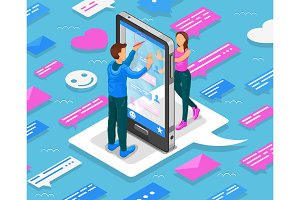 Online dating isometric concept