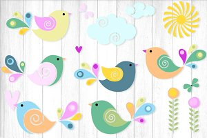 Swirly Birds Spring Vector Clipart
