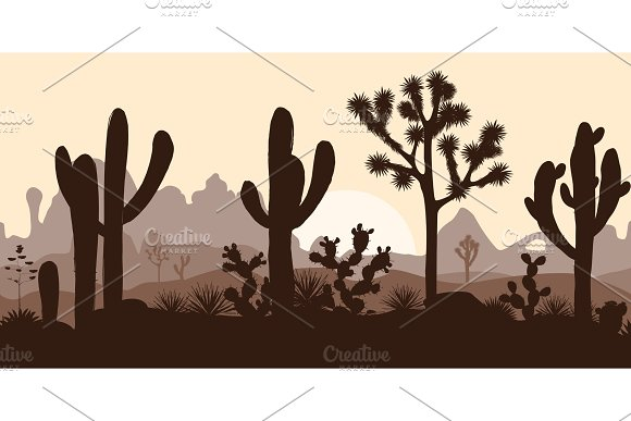 Desert Seamless Pattern With Joshua Trees Opuntia And Saguaro