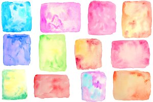 Watercolor Square & Rectangle Shapes