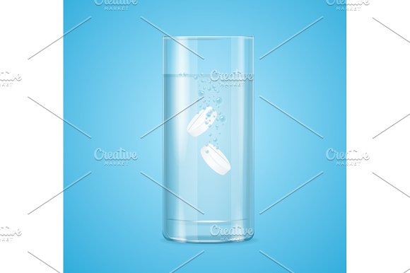 Glass Medical Pills with Bubbles