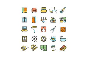Home Decor Thin Line Icon Set