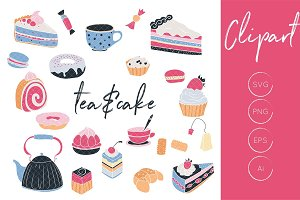 Tea and Cake Clipart Set