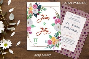 Wedding Watercolor Invitation card