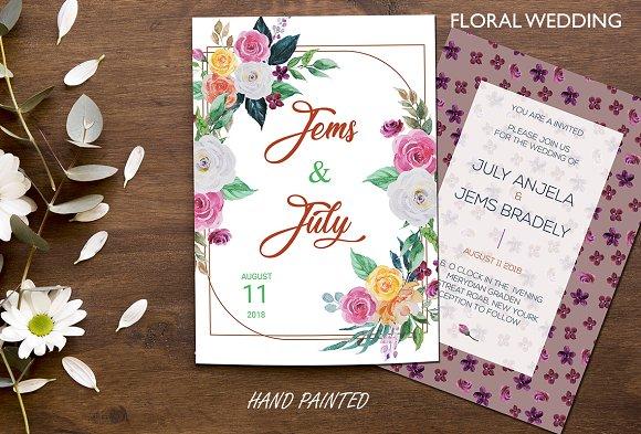 Wedding Watercolor Invitation card