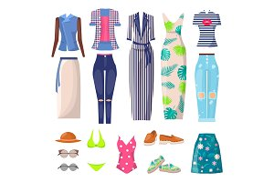 Summer Mode Clothing Set, Vector Illustration