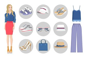 Woman Collection of Clothes Vector Illustration
