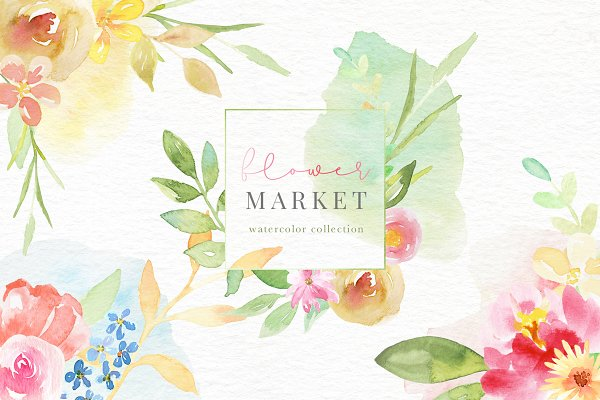 Illustrations and Illustration Products: Eclectic Anthology - Flower Market Watercolor Collection