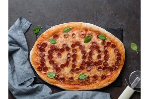 pizza with i love dad lettering, copy space