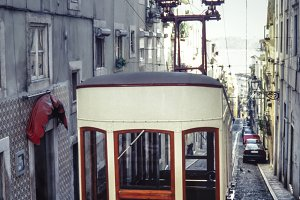 Vintage tram in the city of Lisbon