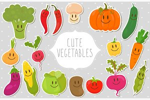 Cute fresh vegetables