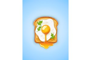 Sandwich with Fried egg. Fast food.