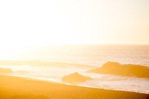 Sea ocean background. Sunset on ocean