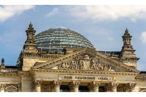 Close-up view of Reichstag building - Berlin, Germany